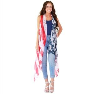 Tops - Americana Stars and Stripes Flag Vest SHIPS FAST